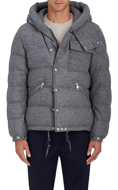 Winterjas Parka Heren.Moncler Lioran Down Quilted Wool Coat Voor Mannen Jas Heren Gray